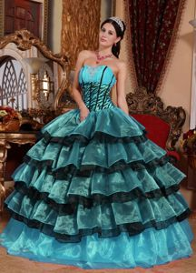 Multi-color Beading Sweetheart Quinceanera Dress with Organza Ruffles