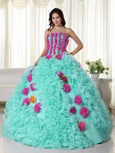 Ellen Page Elegant Strapless 2014 Quinceanera Dresses with Ruffles and Hand Made Flowers