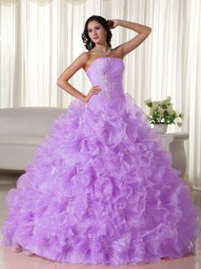 2013 Lavender Appliques Quinceanera Dress with Ruche and Beading