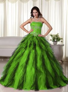 Green Ball and Black Appliques Sweet Sixteen Dresses Made in Tulle