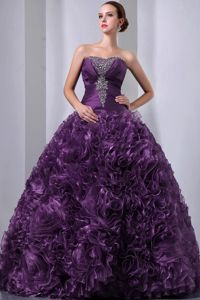 Eggplant Purple Beading and Hand Made Flowers Quinceanea Dress