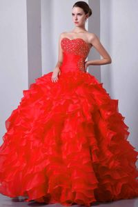 Red Princess Beading Sweetheart and Ruffles Quinceanera Gowns