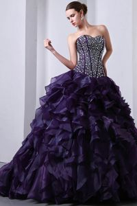 Purple Beading and Ruffles Quinceanera Dress Attached Brush Train