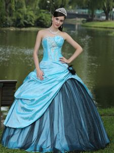Aqua Blue and Black Flower Quinceanera Dress with Layered Ruffles