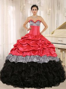 Watermelon and Black Sweetheart Ruffles 2013 Dresses for a Quince