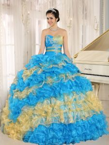 Stylish Multi-color 2014 Hilary Swank Quinceanera Dress with Appliques and Ruffles
