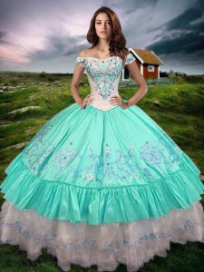Decent Aqua Blue Ball Gowns Taffeta Off The Shoulder Sleeveless Beading and Embroidery and Ruffled Layers Floor Length Lace Up Sweet 16 Quinceanera Dress