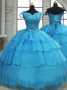 Cheap Off The Shoulder Sleeveless Sweet 16 Dresses Brush Train Beading and Ruffled Layers Baby Blue Organza