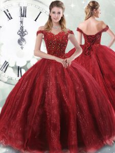 Perfect Off The Shoulder Sleeveless Brush Train Lace Up Vestidos de Quinceanera Wine Red Tulle