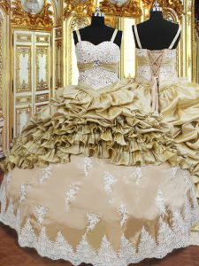 Champagne Ball Gowns Straps Sleeveless Taffeta Floor Length Lace Up Beading and Appliques and Ruffled Layers and Pick Ups Quinceanera Gown