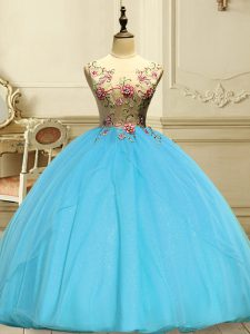 Colorful Baby Blue Lace Up Scoop Appliques Quince Ball Gowns Organza Sleeveless
