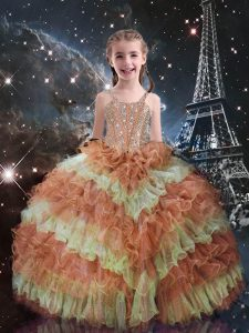 Straps Sleeveless Kids Formal Wear Floor Length Beading and Ruffled Layers Orange Red Organza