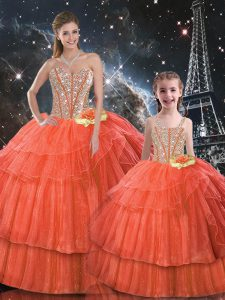 Best Selling Floor Length Lace Up Sweet 16 Quinceanera Dress Rust Red for Military Ball and Sweet 16 and Quinceanera with Ruffled Layers