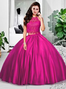 Fuchsia Zipper Quince Ball Gowns Lace and Ruching Sleeveless Floor Length