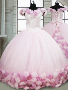 Top Selling Sleeveless Brush Train Hand Made Flower Lace Up Sweet 16 Quinceanera Dress