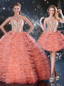 Sumptuous Organza Sweetheart Sleeveless Lace Up Beading and Ruffled Layers Quinceanera Gown in Watermelon Red