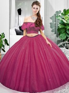 Modern Fuchsia Sleeveless Floor Length Lace and Ruching Lace Up Quince Ball Gowns