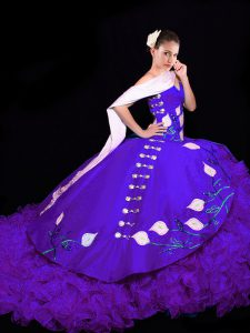 Beauteous Purple Sleeveless Organza Brush Train Lace Up 15 Quinceanera Dress for Military Ball and Sweet 16 and Quinceanera
