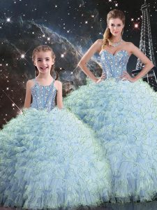 Perfect Organza Sleeveless Floor Length Quinceanera Gown and Beading and Ruffles