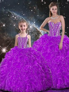 New Arrival Sleeveless Organza Floor Length Lace Up Sweet 16 Dress in Purple with Beading and Ruffles