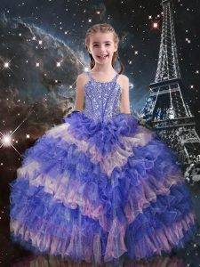 Lilac Straps Neckline Beading and Ruffled Layers Little Girl Pageant Dress Sleeveless Lace Up