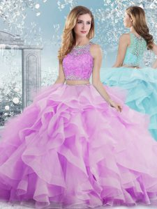 High End Floor Length Ball Gowns Sleeveless Lilac Sweet 16 Dresses Clasp Handle