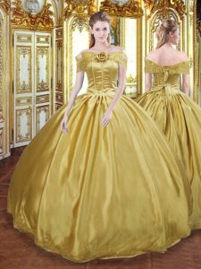 Beading and Appliques and Hand Made Flower Quinceanera Gown Gold Lace Up Sleeveless Floor Length