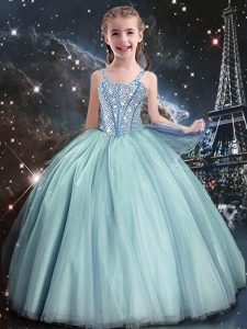 Dazzling Teal Ball Gowns Beading Pageant Dress for Teens Lace Up Tulle Sleeveless Floor Length
