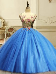 Delicate Floor Length Baby Blue 15th Birthday Dress Tulle Sleeveless Appliques and Sequins