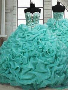 High Class Turquoise Lace Up Ball Gown Prom Dress Beading and Pick Ups Sleeveless Brush Train
