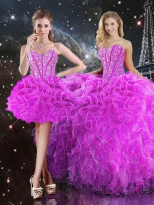 Glittering Fuchsia Ball Gowns Organza Sweetheart Sleeveless Beading and Ruffles Floor Length Lace Up Quinceanera Dress