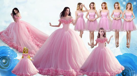 Affordable Baby Pink Sleeveless Floor Length Ruffles Lace Up 15 Quinceanera Dress