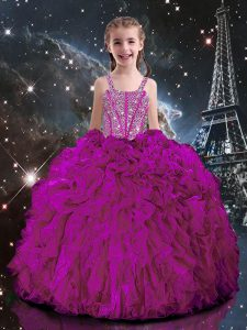 Fuchsia Lace Up Straps Beading and Ruffles Little Girl Pageant Dress Organza Short Sleeves