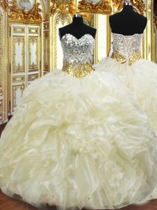Custom Fit Light Yellow Ball Gowns Organza Sweetheart Sleeveless Beading and Ruffles Floor Length Lace Up Quinceanera Gowns