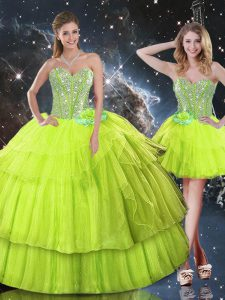 Sleeveless Organza Floor Length Lace Up 15th Birthday Dress in Yellow Green with Ruffled Layers