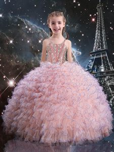 Short Sleeves Organza Floor Length Lace Up Little Girls Pageant Gowns in Pink with Beading and Ruffles