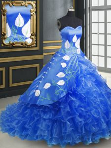 Deluxe Blue Ball Gowns Sweetheart Sleeveless Organza Brush Train Lace Up Embroidery and Ruffles Quince Ball Gowns
