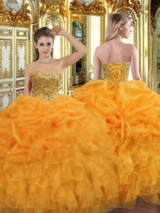Sweet Sleeveless Organza Floor Length Lace Up Ball Gown Prom Dress in Orange with Beading and Ruffles