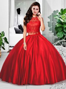 Sleeveless Taffeta Floor Length Zipper Ball Gown Prom Dress in Wine Red with Lace and Ruching
