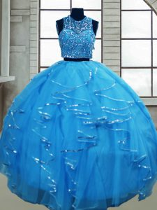 Traditional Baby Blue Tulle Lace Up Sweet 16 Dresses Sleeveless Floor Length Beading and Ruffles