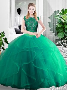 Scoop Sleeveless Zipper 15th Birthday Dress Turquoise Tulle