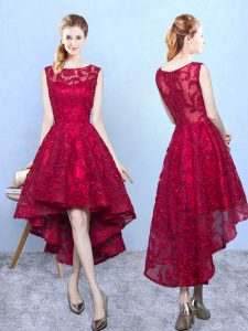 Scoop Sleeveless Zipper Quinceanera Court of Honor Dress Burgundy Lace