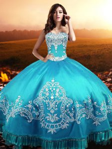 Aqua Blue Sleeveless Beading and Appliques Floor Length Quinceanera Gowns