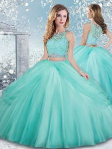 Sleeveless Tulle Floor Length Clasp Handle Quinceanera Dresses in Aqua Blue with Beading and Lace