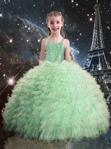 Pretty Apple Green Straps Lace Up Beading and Ruffles Girls Pageant Dresses Sleeveless