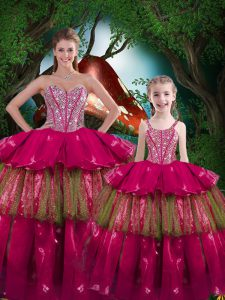 Flirting Fuchsia Sweetheart Lace Up Beading and Ruffled Layers Sweet 16 Dress Sleeveless