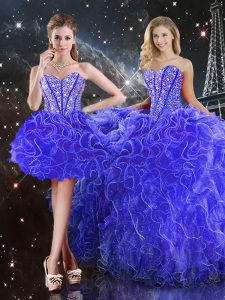 Excellent Blue Sweetheart Neckline Beading and Ruffles Sweet 16 Dress Sleeveless Lace Up