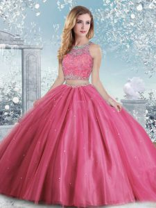 Hot Pink Ball Gowns Beading and Sequins Sweet 16 Quinceanera Dress Clasp Handle Tulle Sleeveless Floor Length