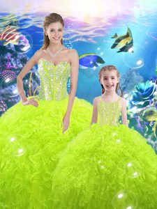 Sweetheart Sleeveless Quinceanera Gowns Floor Length Beading and Ruffles Yellow Green Organza