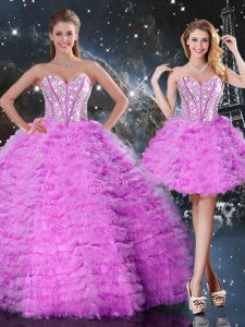 Discount Sleeveless Organza Floor Length Lace Up Quinceanera Dresses in Fuchsia with Beading and Ruffled Layers